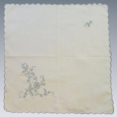 White with Baby Blue Crewel Embroidered Flowers