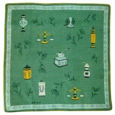 Faith Austin Designer Green Linen Handkerchief Hanky