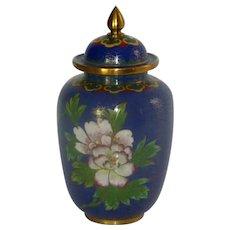 Blue Cloisonné Cloisonne Enamel Brass Jar with Lid
