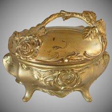 Gilded Art Nouveau Metal Casket Repoussé Jewelry Box