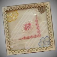 3 Cotton  White Handkerchiefs in Original Box