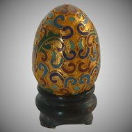 Miniature Cloisonné Cloisonne Egg on Wooden Stand