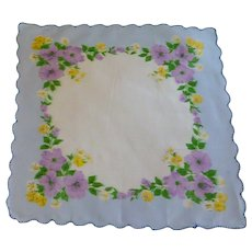 Blue Handkerchief with Yellow & Purple  Flowers
