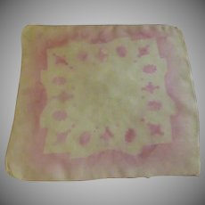 Very Old Nylon Screen Blocked Handkerchief