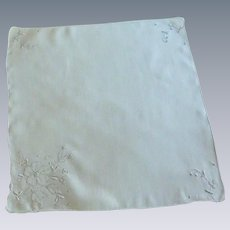 White Handkerchief with White Appliqued Flowers