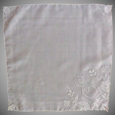 E Initial White Handkerchief with White Appliqued Flowers
