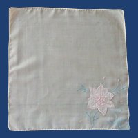 White Handkerchief with Pink Appliqued Flower