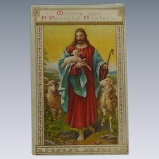 Easter Postcard Jesus and Sheep  1911