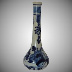 Blue and White Delft Hand Painted Bud Vase