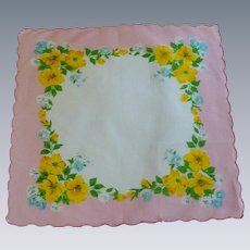 Pink Handkerchief with Yellow & Blue Flowers