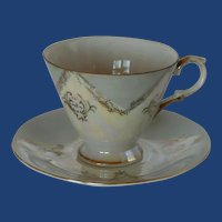Grey and White Lusterware Gold Trim Tea Cup and Saucer