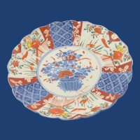 19th Century  Scalloped Edge Hand Painted Imari Plate
