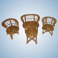 Four Piece 1970's Wicker Rattan Doll Chairs and Table