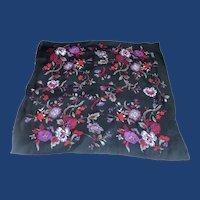Van Horn 100% Silk Black Floral Scarf