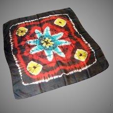 India Tie Die Black Red Yellow Silk Scarf