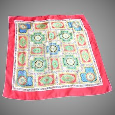 Colorful Large Red Silk Scarf