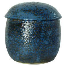 Blue and Brown Pottery Pot Jar /Lid