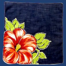 Bold Red Petunia on Blue Handkerchief Hanky