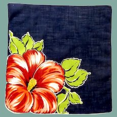 Bold Red Petunia on Blue Handkerchief Hanky