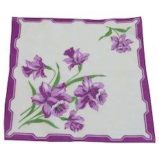 Large Purple Daffodils on White Handkerchief