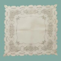 Beautiful Wedding Handkerchief Hanky Off White