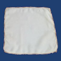 White Linen Handkerchief with Tatted Edging