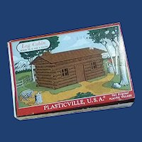 Plasticville Log Cabin Complete Unglued with Original Box