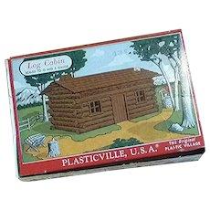 Plasticville Log Cabin Complete Unglued with Original Box
