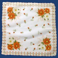 Hand Painted Orange and White Daisy Handkerchief Hanky