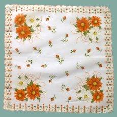 Hand Painted Orange and White Daisy Handkerchief Hanky
