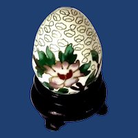 Cloisonné Chinese Enameled Small Egg with Stand
