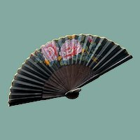 Pink Purple Flowers Small Black Hand Fan