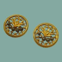Gold Tone Metal Cut Out Floral Design Sewing Button