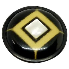 Tin Hollow Mother of Pearl Black Button
