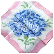 Blue and Pink Folded Mother Handkerchief Hankie