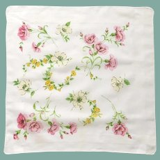 White Handkerchief with Pink & White Flowers