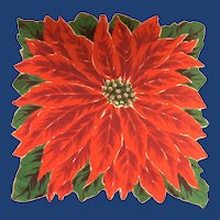 Bold Christmas Poinsettia Flower Handkerchief Hanky