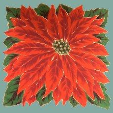 Bold Christmas Poinsettia Flower Handkerchief Hanky