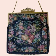 Petit Point Floral Evening Bag Purse Budapest