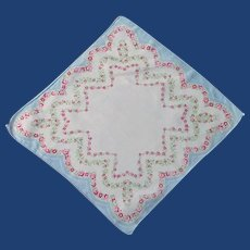 Soft 1940's Handkerchief with Roses