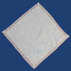 White Handkerchief with Lace Edges Embroidered Flowers