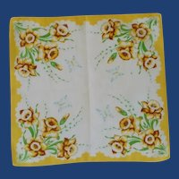 Yellow Daffodils and Butterflies Handkerchief Hanky