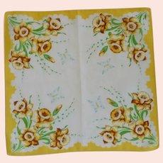 Yellow Daffodils and Butterflies Handkerchief Hanky