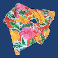 Echo Bright Color Flowered Long Silk Scarf