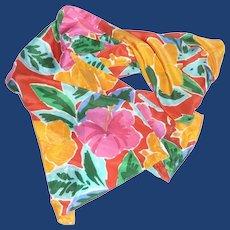 Echo Bright Color Flowered Long Silk Scarf