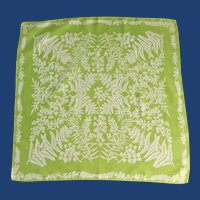 Light Pea Green Cotton Scarf Fern Pattern