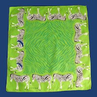 Dark Pea Green Scarf with Zebras