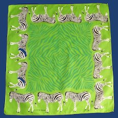 Dark Pea Green Scarf with Zebras