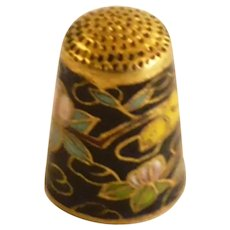 Blue Cloisonné Sewing Thimble with Bird and Flowers