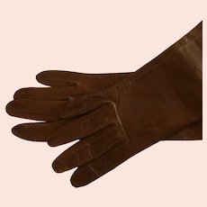 Brown Kid Leather Gloves Made in Belgium